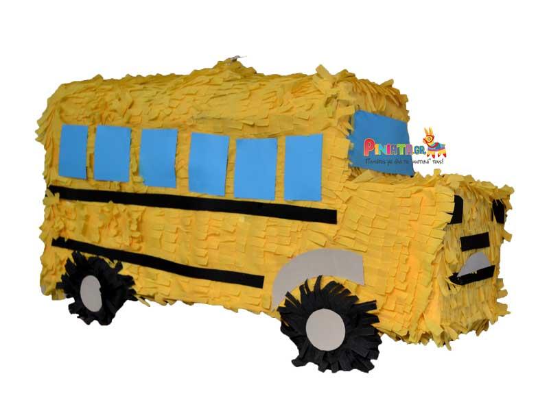 χειροποιητη πινιατα σχολικο λεωφορειο