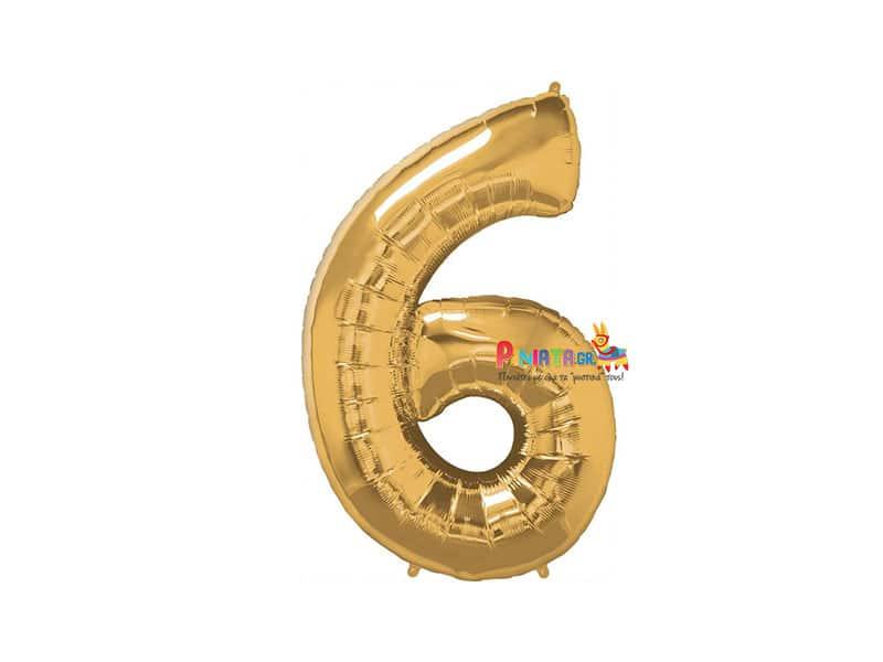 Μπαλονι foil χρυσο εξι 6