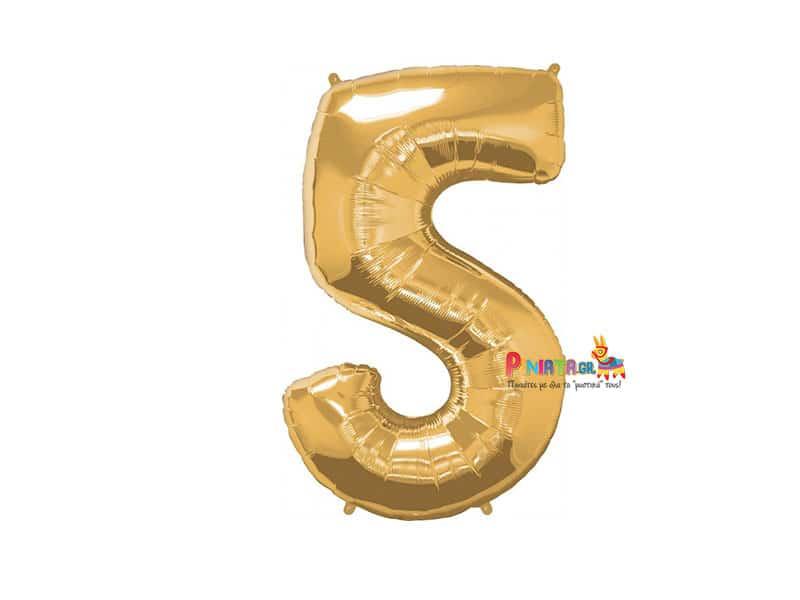 Μπαλονι foil χρυσο πεντε 5