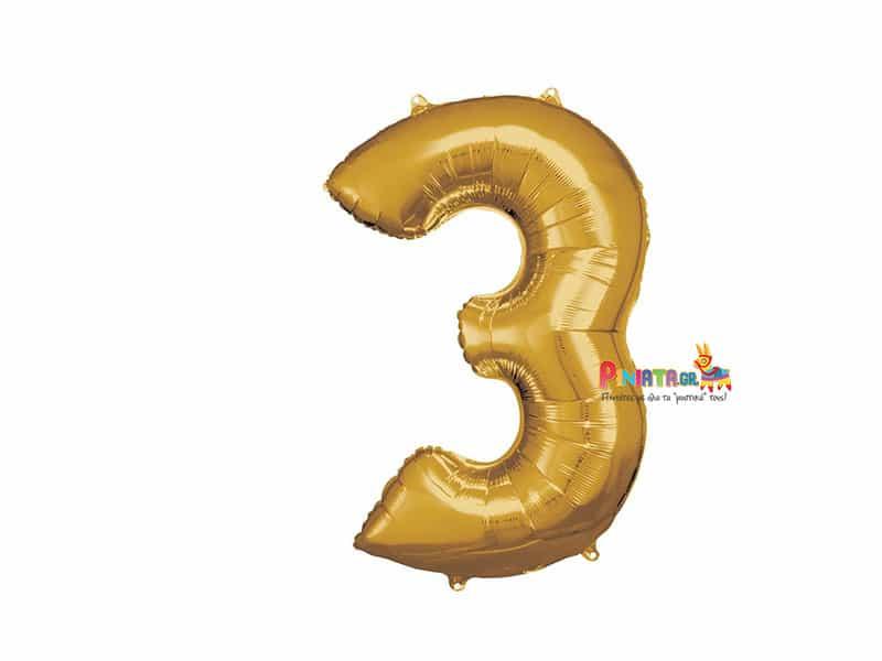 Μπαλονι foil χρυσο τρια 3